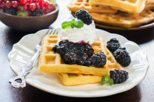 Waffles and fruit at The Inn at 97 Winder
